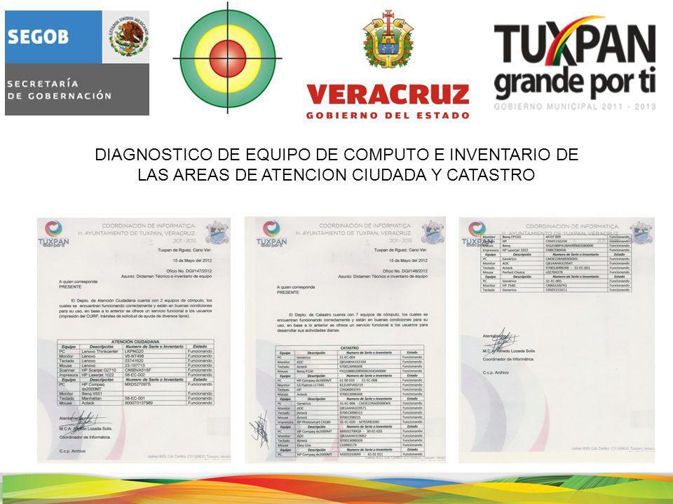 DIAGNOSTICO DE EQUIPO DE COMPUTO E INVENTARIO DE LAS AREAS DE ATENCION CIUDADA Y CATASTRO