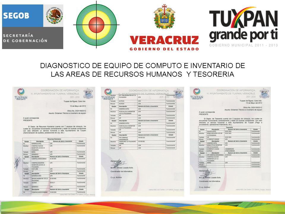 DIAGNOSTICO DE EQUIPO DE COMPUTO E INVENTARIO DE LAS AREAS DE RECURSOS HUMANOS Y TESORERIA