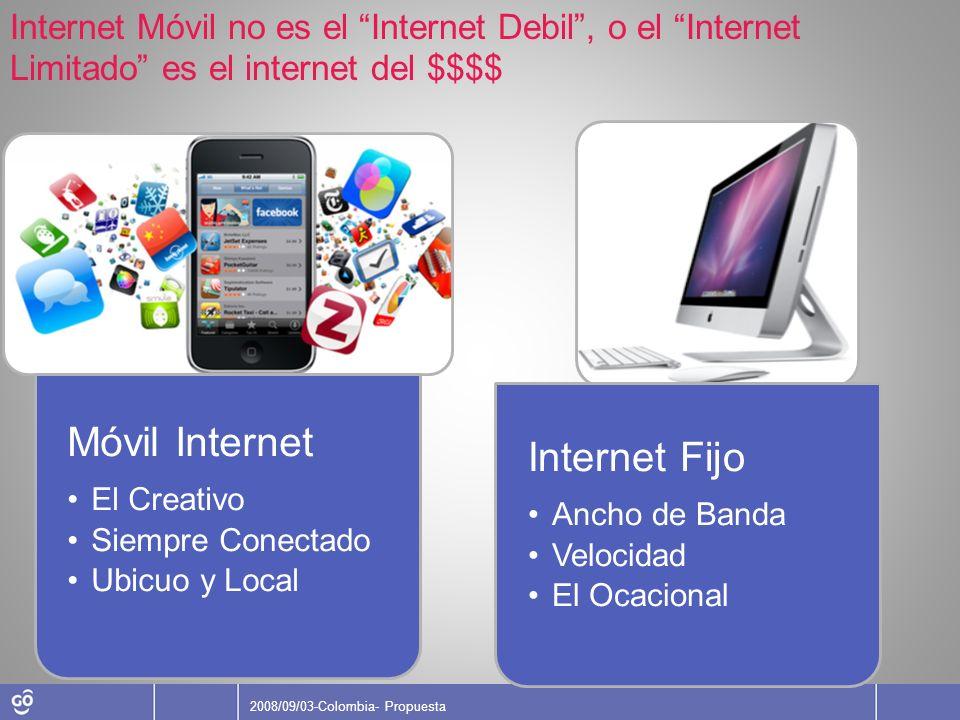 2008/09/03-Colombia- Propuesta Internet Móvil no es el Internet Debil, o el Internet Limitado es el internet del $$$$ Móvil Internet El Creativo Siemp