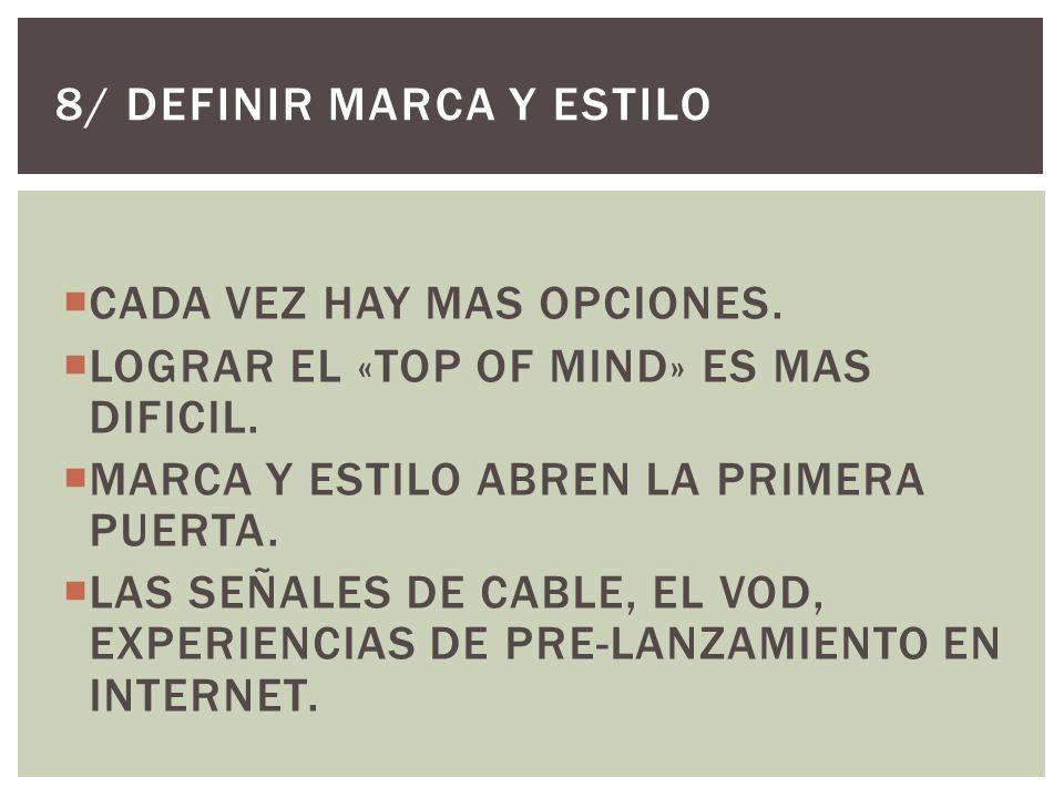 CADA VEZ HAY MAS OPCIONES. LOGRAR EL «TOP OF MIND» ES MAS DIFICIL.