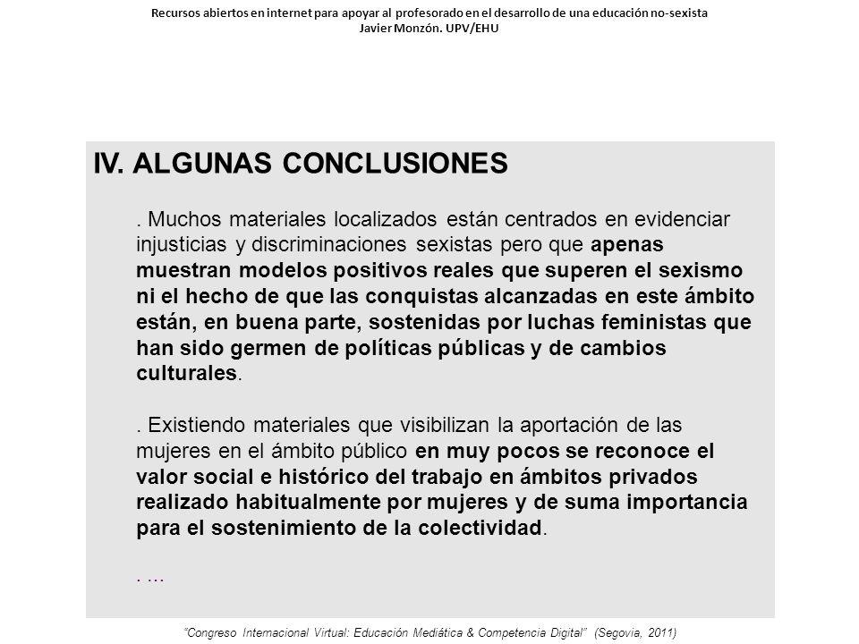 IV. ALGUNAS CONCLUSIONES.