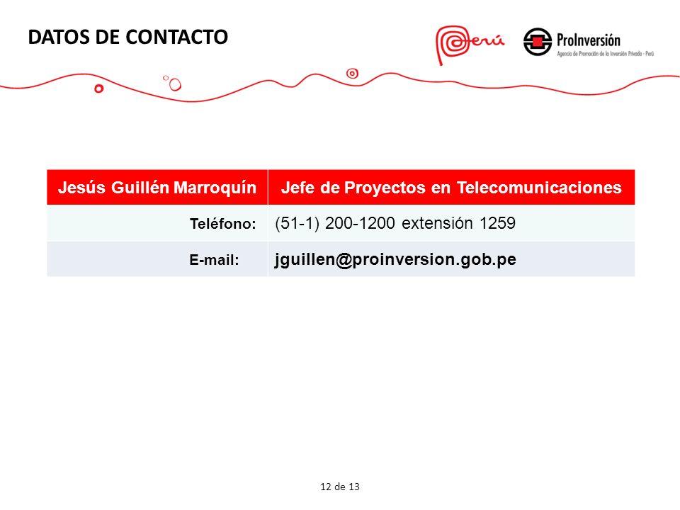 DATOS DE CONTACTO 12 de 13 Jesús Guillén MarroquínJefe de Proyectos en Telecomunicaciones Teléfono: (51-1) 200-1200 extensión 1259 E-mail: jguillen@pr