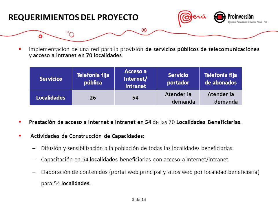 Implementación de una red para la provisión de servicios públicos de telecomunicaciones y acceso a intranet en 70 localidades. Prestación de acceso a