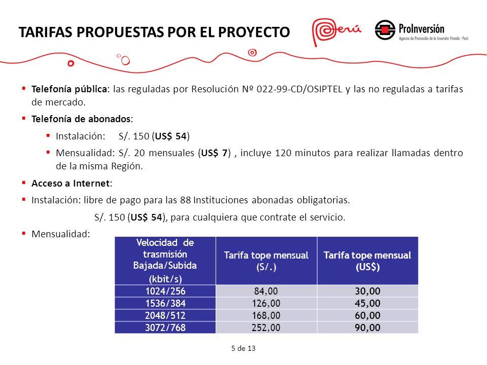 Acceso a Intranet: TARIFAS PROPUESTAS POR EL PROYECTO 6 de 13 Velocidad de transmisión Bajada/Subida (kbit/s) Tarifa tope mensual (S/.) Tarifa tope mensual (US$) 1000/100010.003,60 1200/120015.005,36 1500/150025.008,92 Si una Institución contrata acceso a Internet, tiene acceso a Intranet sin costo adicional.
