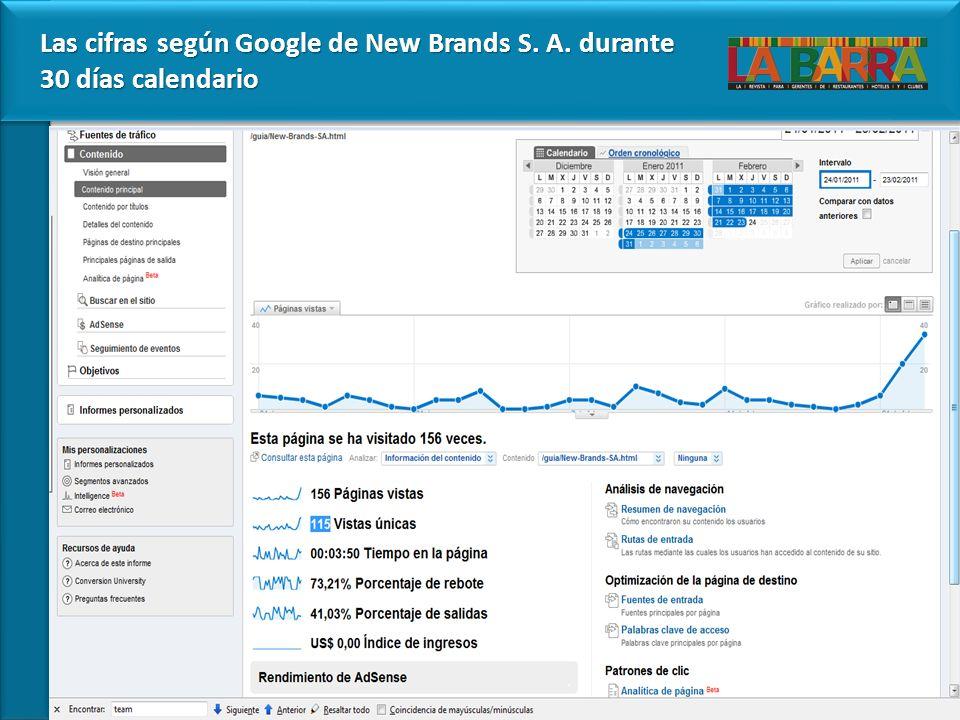 Las cifras según Google de New Brands S. A. durante 30 días calendario