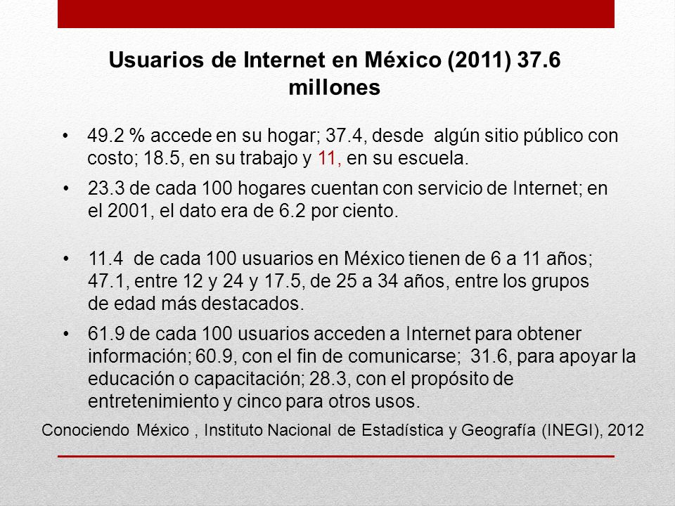Conociendo México, Instituto Nacional de Estadística y Geografía (INEGI), 2012 Usuarios de Internet en México (2011) 37.6 millones 49.2 % accede en su