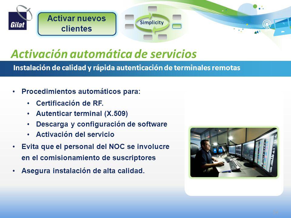 Confidential and proprietary information Activación automática de servicios Instalación de calidad y rápida autenticación de terminales remotas Simpli