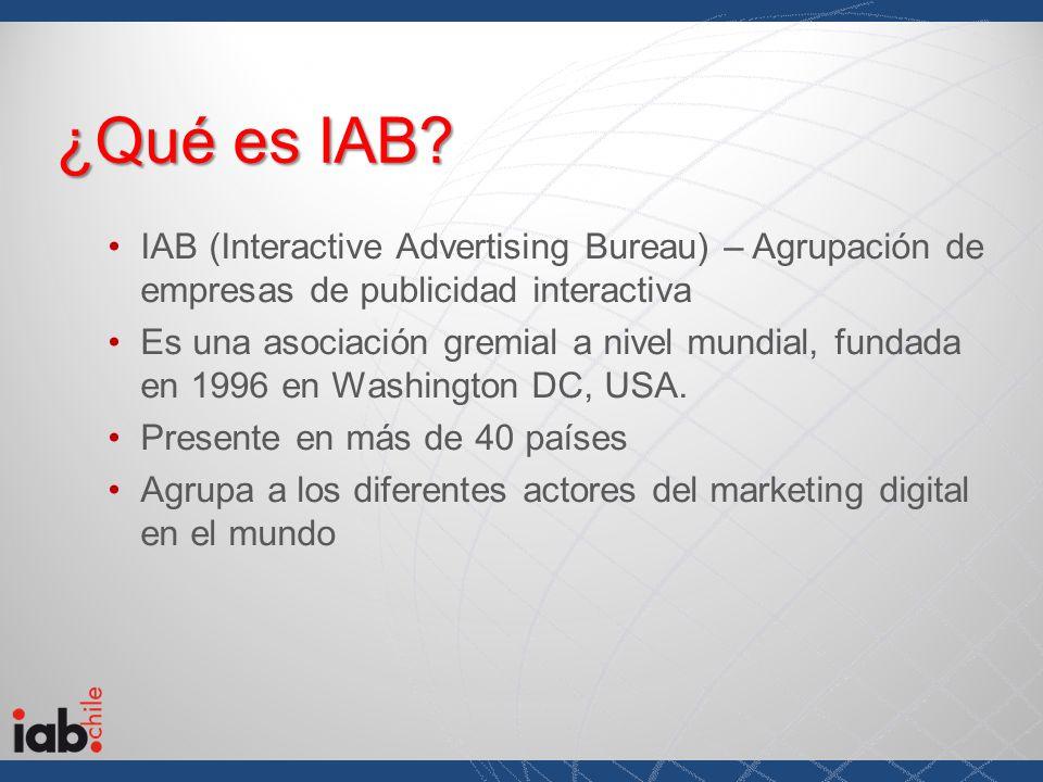 ¿Qué es IAB? IAB (Interactive Advertising Bureau) – Agrupación de empresas de publicidad interactiva Es una asociación gremial a nivel mundial, fundad