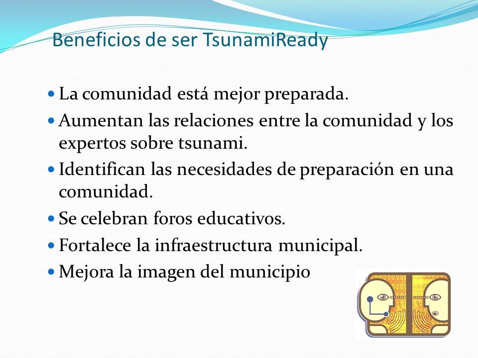 Beneficios de ser TsunamiReady La comunidad está mejor preparada.
