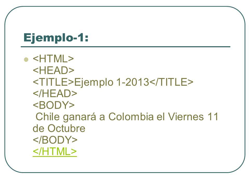 Ejemplo-1: Ejemplo 1-2013 Chile ganará a Colombia el Viernes 11 de Octubre