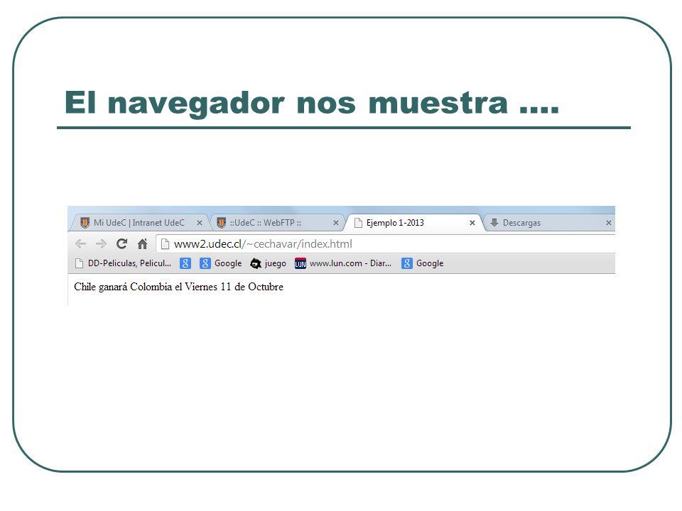 El navegador nos muestra ….