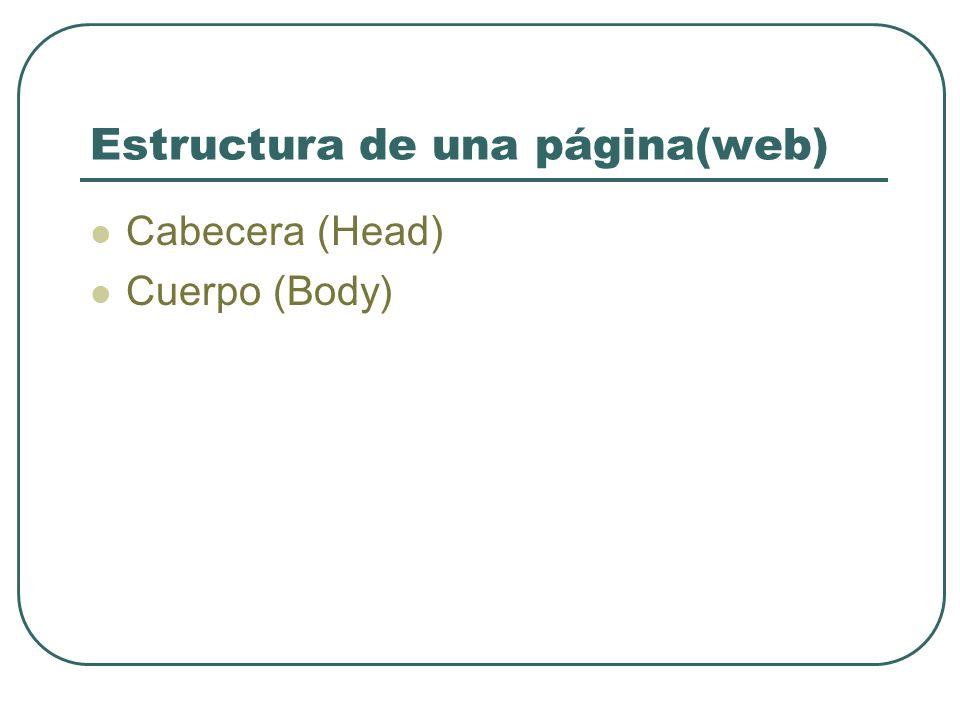 Estructura de una página(web) Cabecera (Head) Cuerpo (Body)