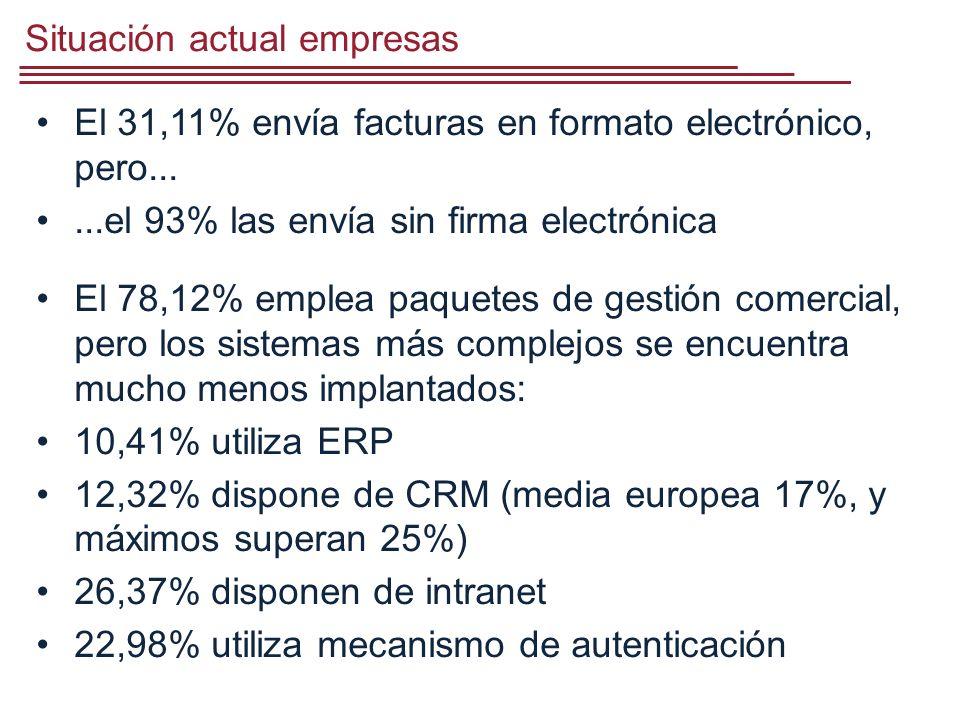 Situación actual empresas El 31,11% envía facturas en formato electrónico, pero......el 93% las envía sin firma electrónica El 78,12% emplea paquetes de gestión comercial, pero los sistemas más complejos se encuentra mucho menos implantados: 10,41% utiliza ERP 12,32% dispone de CRM (media europea 17%, y máximos superan 25%) 26,37% disponen de intranet 22,98% utiliza mecanismo de autenticación
