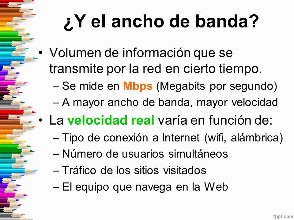 ¿Y el ancho de banda.Volumen de información que se transmite por la red en cierto tiempo.