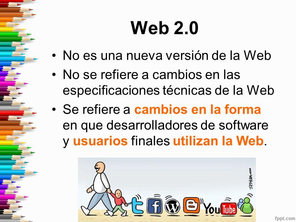 Web 2.0 No es una nueva versión de la Web No se refiere a cambios en las especificaciones técnicas de la Web Se refiere a cambios en la forma en que desarrolladores de software y usuarios finales utilizan la Web.