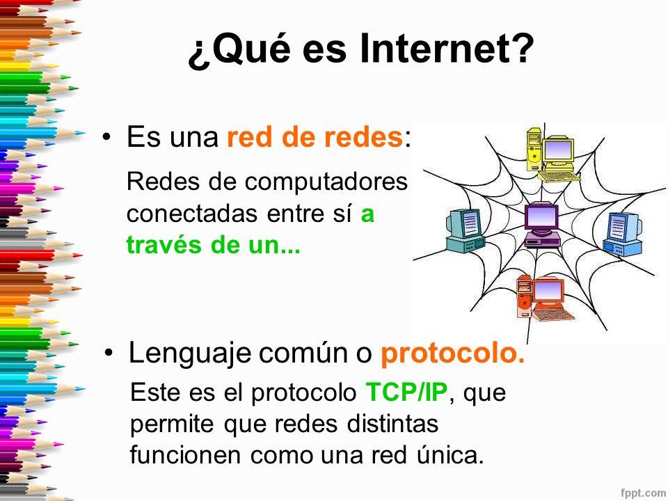 ¿Qué es Internet.Es una red de redes: Redes de computadores conectadas entre sí a través de un...
