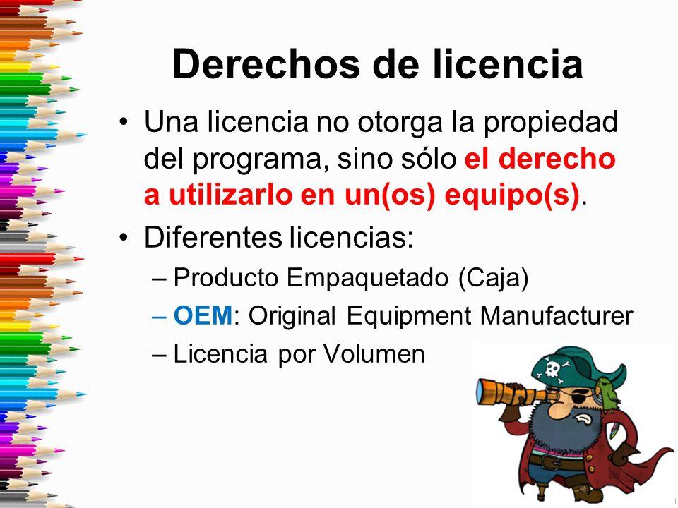 Derechos de licencia Una licencia no otorga la propiedad del programa, sino sólo el derecho a utilizarlo en un(os) equipo(s).