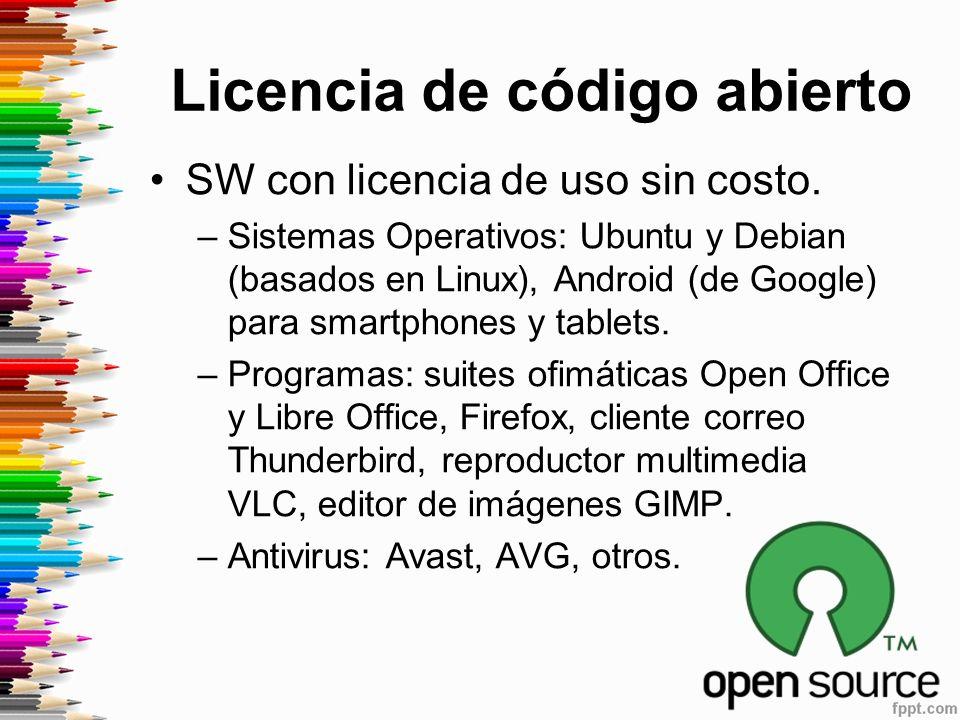 Licencia de código abierto SW con licencia de uso sin costo.
