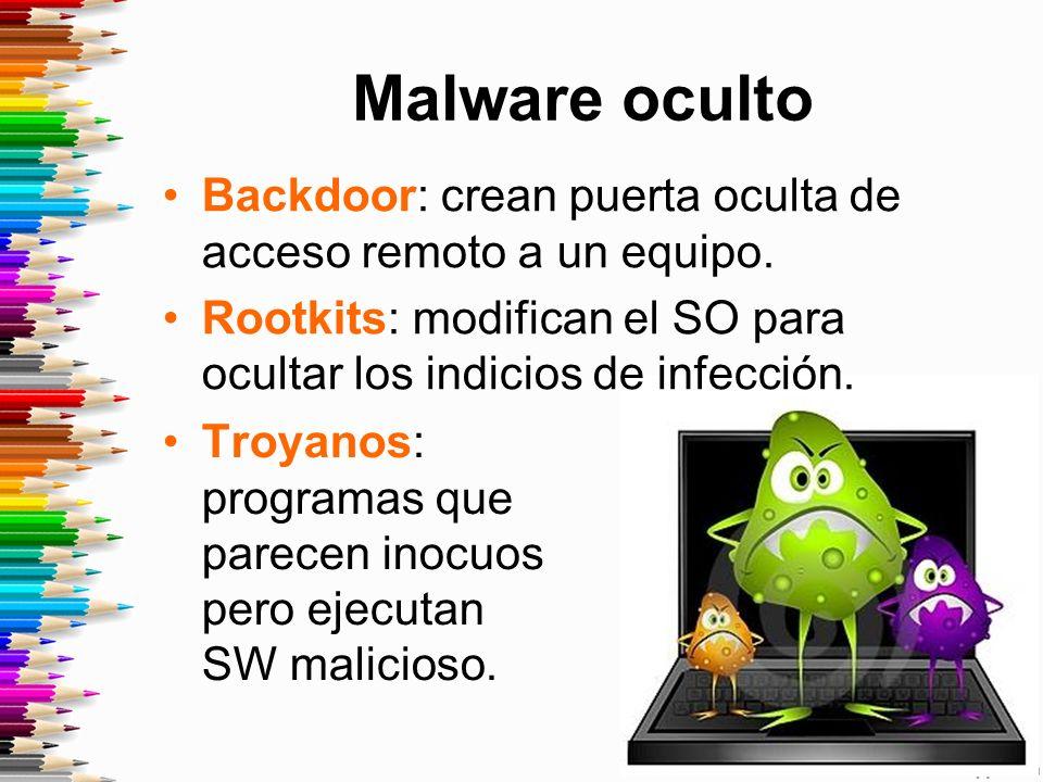 Malware oculto Backdoor: crean puerta oculta de acceso remoto a un equipo.