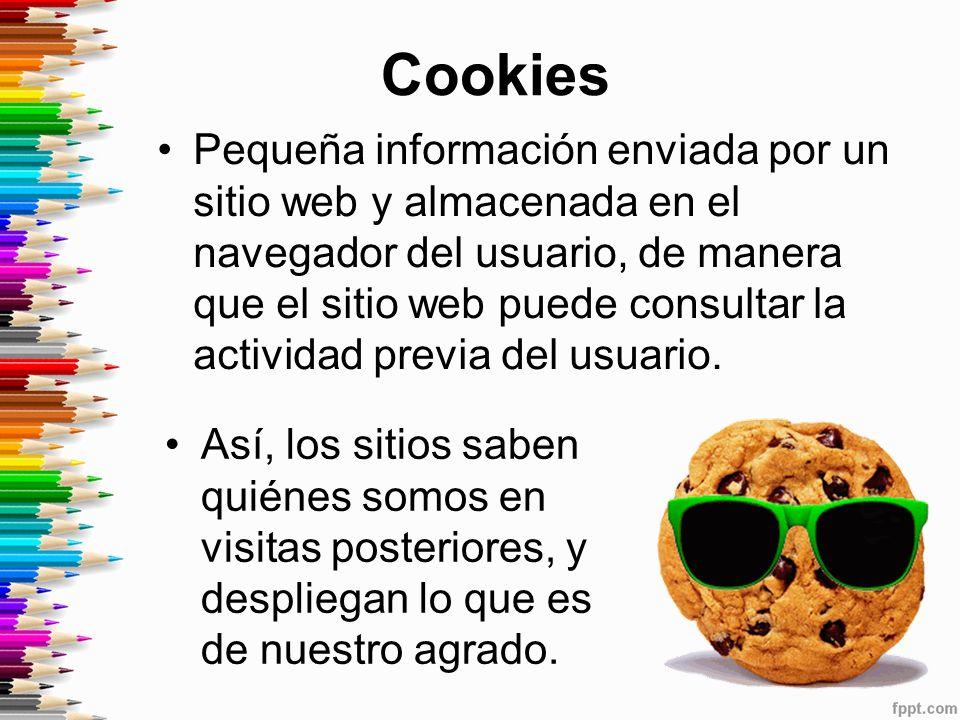 Cookies Pequeña información enviada por un sitio web y almacenada en el navegador del usuario, de manera que el sitio web puede consultar la actividad previa del usuario.