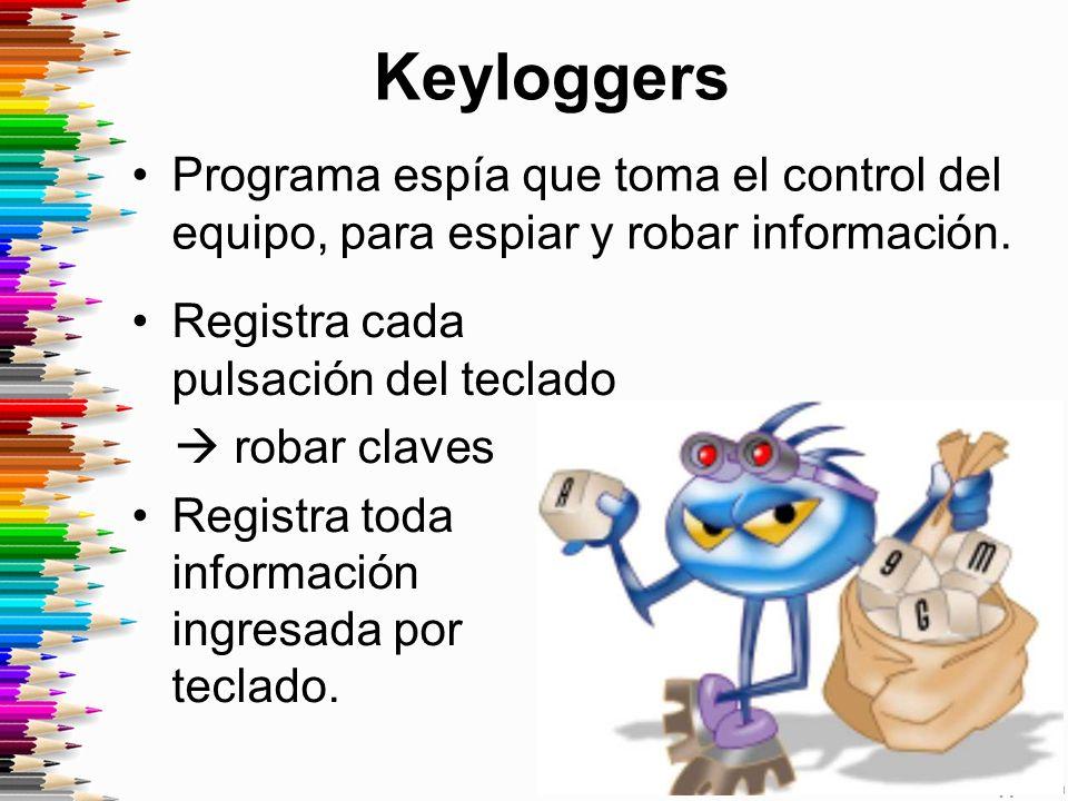 Keyloggers Programa espía que toma el control del equipo, para espiar y robar información.