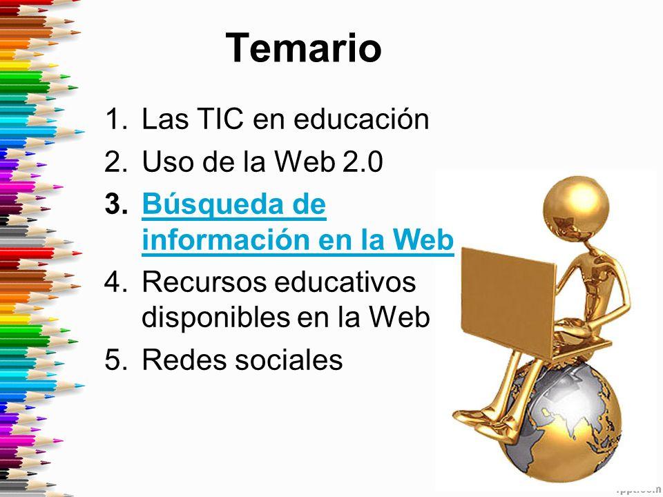 Temario 1.Las TIC en educación 2.Uso de la Web 2.0 3.Búsqueda de información en la WebBúsqueda de información en la Web 4.Recursos educativos disponibles en la Web 5.Redes sociales