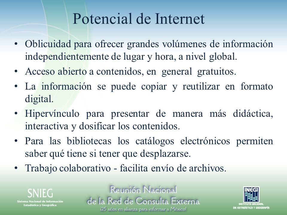 Potencial de Internet Oblicuidad para ofrecer grandes volúmenes de información independientemente de lugar y hora, a nivel global. Acceso abierto a co