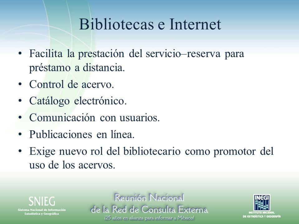 Bibliotecas e Internet Facilita la prestación del servicio–reserva para préstamo a distancia. Control de acervo. Catálogo electrónico. Comunicación co