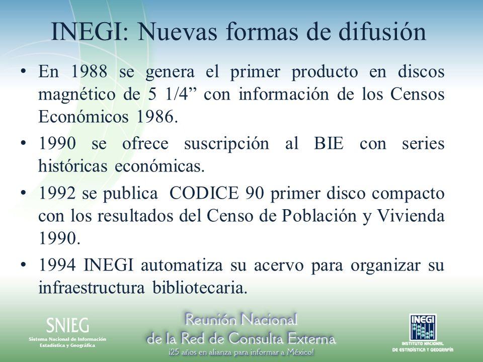 INEGI: Nuevas formas de difusión En 1988 se genera el primer producto en discos magnético de 5 1/4 con información de los Censos Económicos 1986. 1990