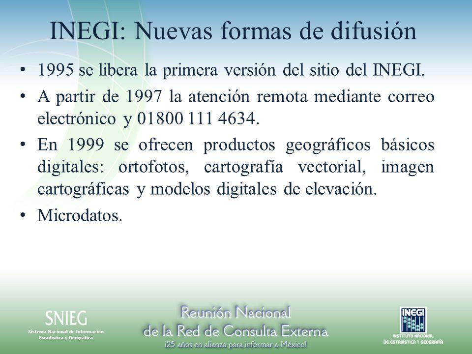 INEGI: Nuevas formas de difusión 1995 se libera la primera versión del sitio del INEGI. A partir de 1997 la atención remota mediante correo electrónic