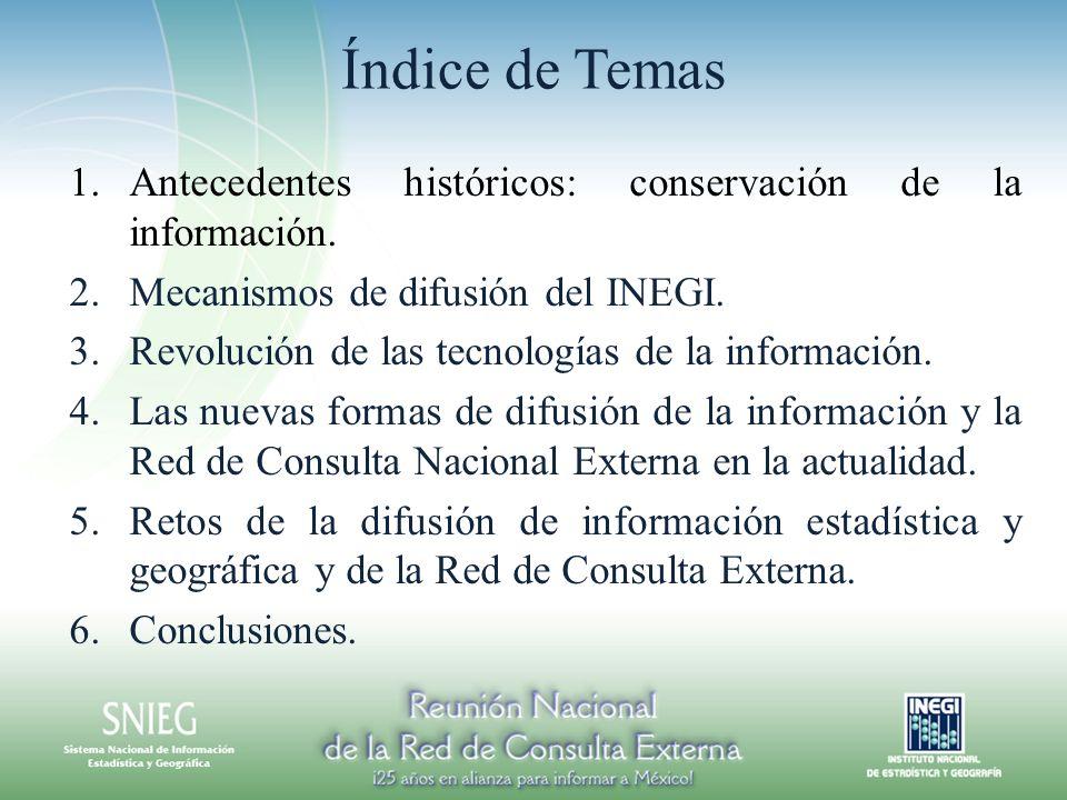 Índice de Temas 1.Antecedentes históricos: conservación de la información. 2.Mecanismos de difusión del INEGI. 3.Revolución de las tecnologías de la i