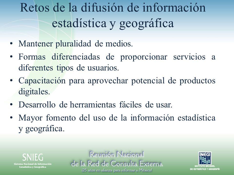 Retos de la difusión de información estadística y geográfica Mantener pluralidad de medios. Formas diferenciadas de proporcionar servicios a diferente