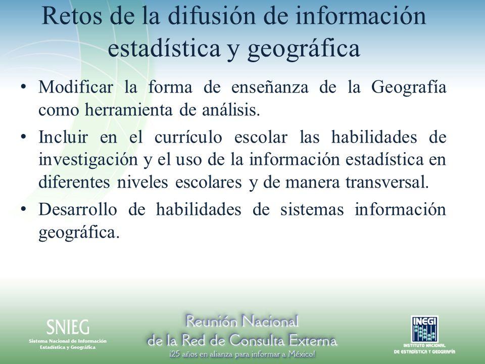 Retos de la difusión de información estadística y geográfica Modificar la forma de enseñanza de la Geografía como herramienta de análisis. Incluir en