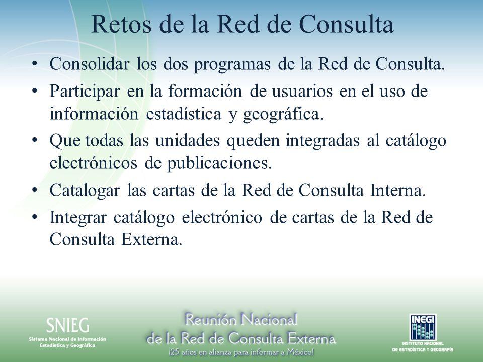 Retos de la Red de Consulta Consolidar los dos programas de la Red de Consulta. Participar en la formación de usuarios en el uso de información estadí