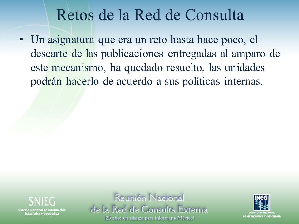 Retos de la Red de Consulta Un asignatura que era un reto hasta hace poco, el descarte de las publicaciones entregadas al amparo de este mecanismo, ha