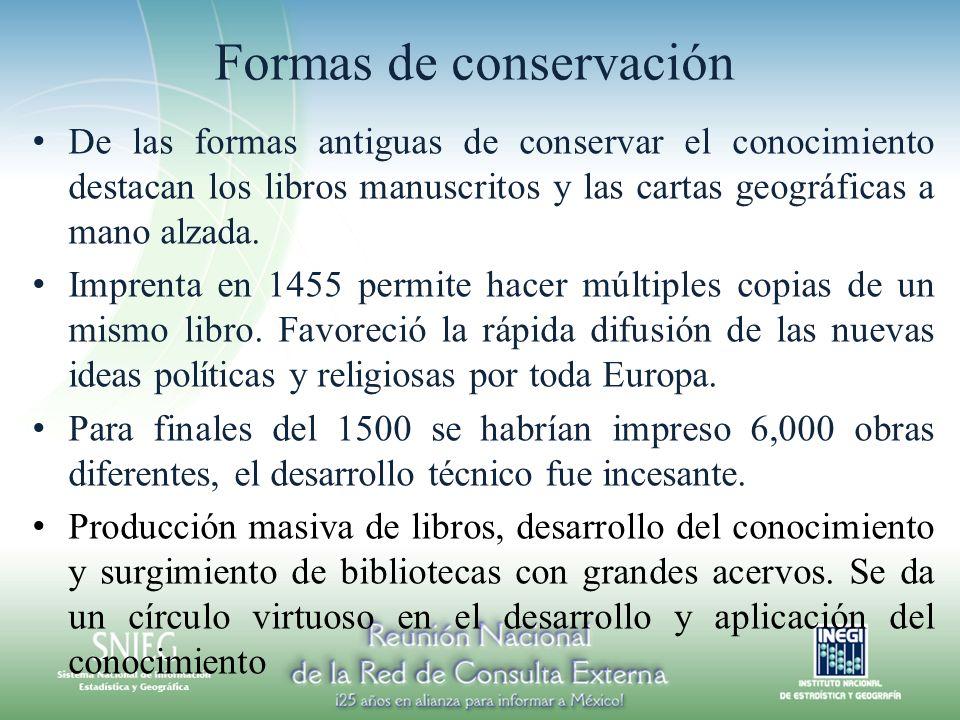 Formas de conservación De las formas antiguas de conservar el conocimiento destacan los libros manuscritos y las cartas geográficas a mano alzada. Imp