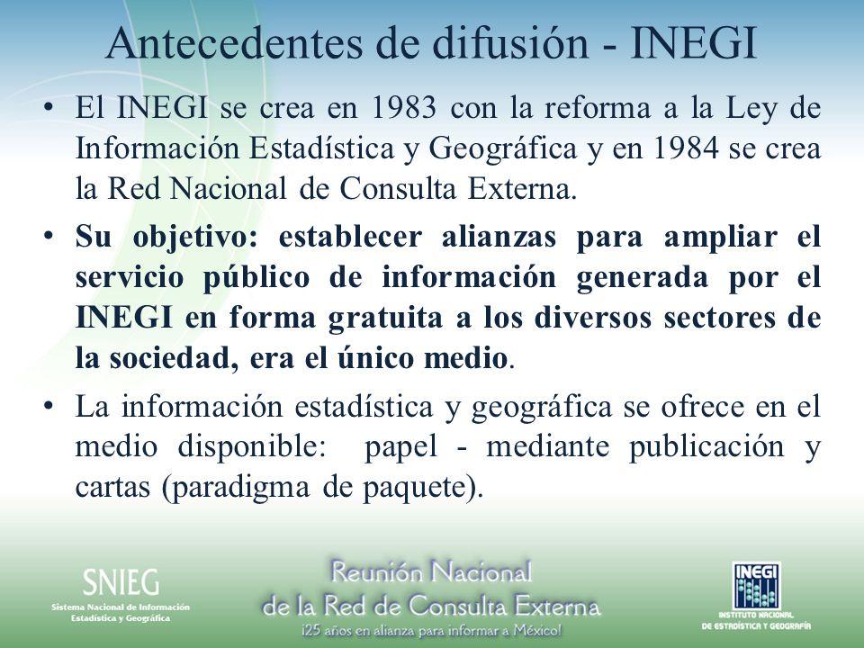 Antecedentes de difusión - INEGI El INEGI se crea en 1983 con la reforma a la Ley de Información Estadística y Geográfica y en 1984 se crea la Red Nac
