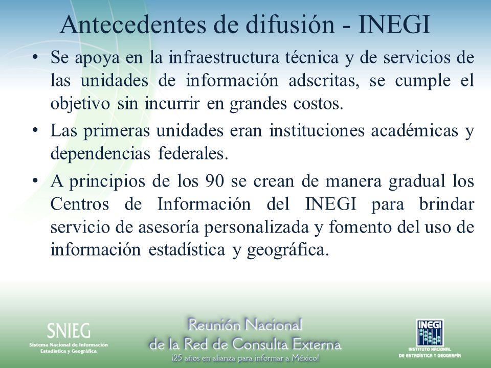 Antecedentes de difusión - INEGI Se apoya en la infraestructura técnica y de servicios de las unidades de información adscritas, se cumple el objetivo