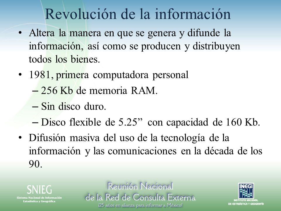 Revolución de la información Altera la manera en que se genera y difunde la información, así como se producen y distribuyen todos los bienes. 1981, pr