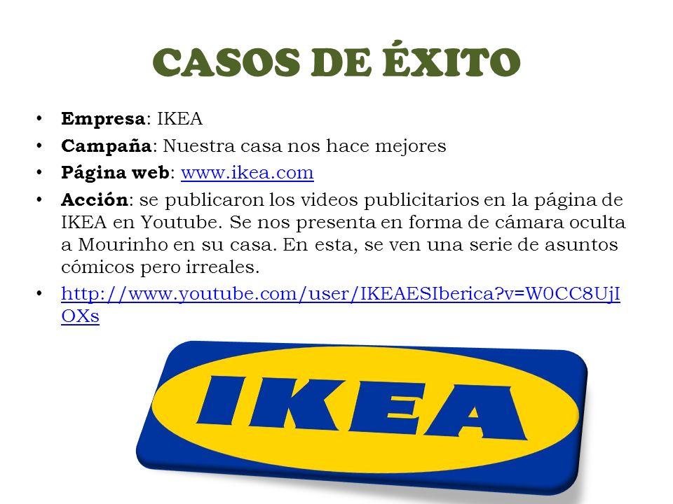 CASOS DE ÉXITO Empresa : IKEA Campaña : Nuestra casa nos hace mejores Página web : www.ikea.comwww.ikea.com Acción : se publicaron los videos publicitarios en la página de IKEA en Youtube.