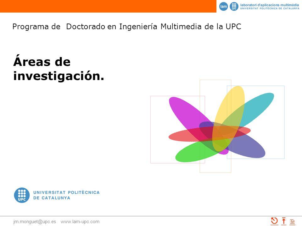 Programa de Doctorado en Ingeniería Multimedia jm.monguet@upc.es www.lam-upc.com 1Áreas de conocimientoÁreas de conocimiento 2i+d+i interdisciplinari+d+i interdisciplinar 3TIC y diseñoTIC y diseño 4Comunicación y diseñoComunicación y diseño 5Aplicaciones [ TIC, comunicación y diseño ]Aplicaciones 6EjemplosEjemplos Índice