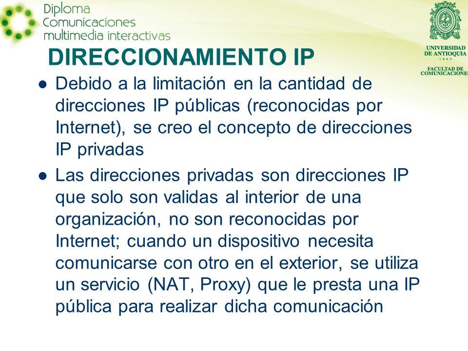 DIRECCIONAMIENTO IP Debido a la limitación en la cantidad de direcciones IP públicas (reconocidas por Internet), se creo el concepto de direcciones IP