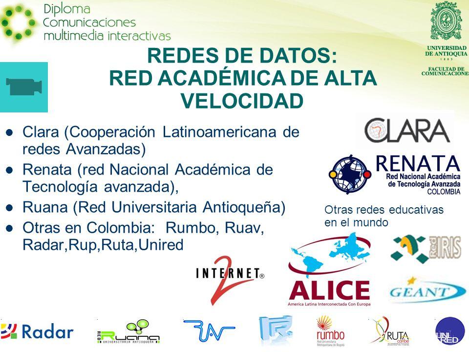 Clara (Cooperación Latinoamericana de redes Avanzadas) Renata (red Nacional Académica de Tecnología avanzada), Ruana (Red Universitaria Antioqueña) Ot