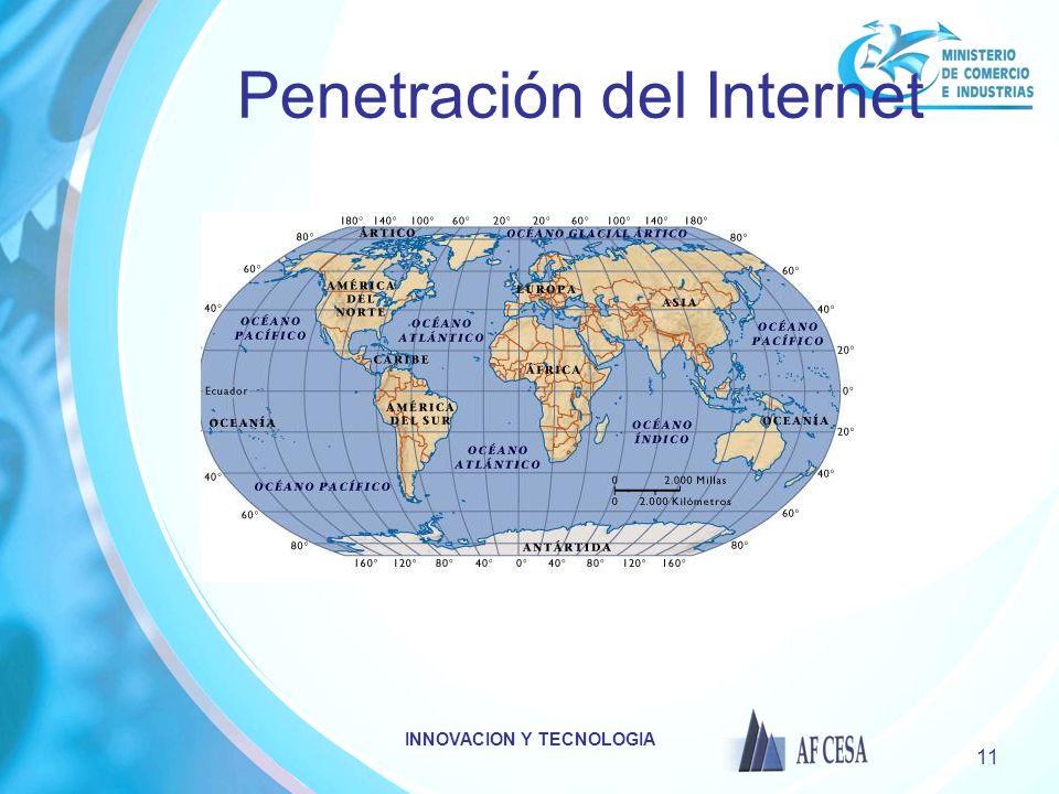 INNOVACION Y TECNOLOGIA 11 Penetración del Internet
