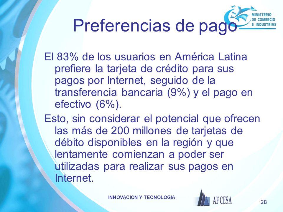 INNOVACION Y TECNOLOGIA 28 Preferencias de pago El 83% de los usuarios en América Latina prefiere la tarjeta de crédito para sus pagos por Internet, seguido de la transferencia bancaria (9%) y el pago en efectivo (6%).