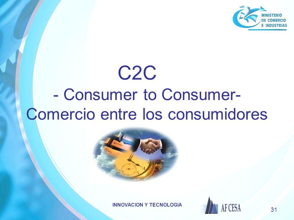 INNOVACION Y TECNOLOGIA 31 C2C - Consumer to Consumer- Comercio entre los consumidores