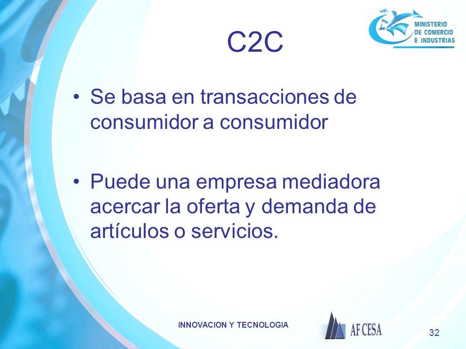 INNOVACION Y TECNOLOGIA 32 C2C Se basa en transacciones de consumidor a consumidor Puede una empresa mediadora acercar la oferta y demanda de artículo