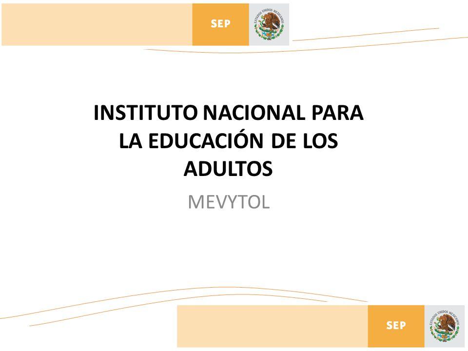 INSTITUTO NACIONAL PARA LA EDUCACIÓN DE LOS ADULTOS MEVYTOL