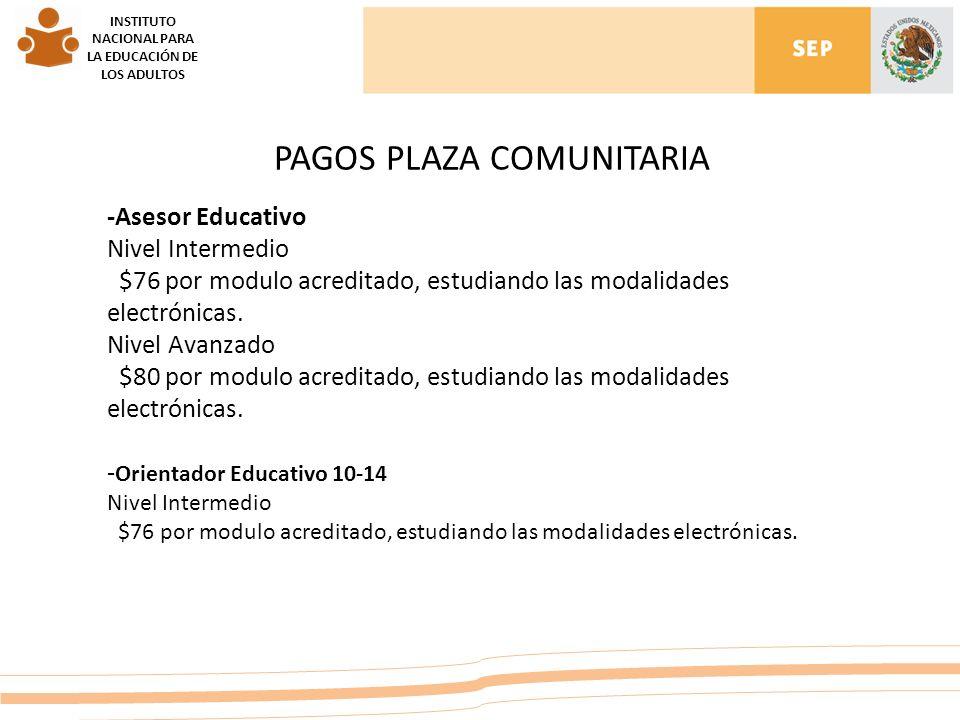 INSTITUTO NACIONAL PARA LA EDUCACIÓN DE LOS ADULTOS PAGOS PLAZA COMUNITARIA -Asesor Educativo Nivel Intermedio $76 por modulo acreditado, estudiando las modalidades electrónicas.