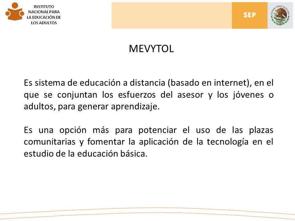 INSTITUTO NACIONAL PARA LA EDUCACIÓN DE LOS ADULTOS Es sistema de educación a distancia (basado en internet), en el que se conjuntan los esfuerzos del asesor y los jóvenes o adultos, para generar aprendizaje.